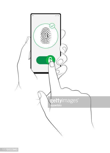 unlocking a screen with fingerprint authentication - fingerprint scanner stock illustrations