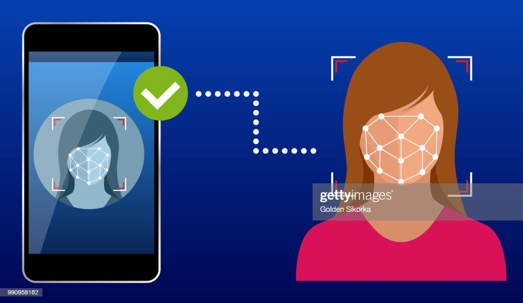 Unlocking smartphone with biometric facial identification, biometric identification, facial recognition system concept. Vector illustration for business, infographic, banner