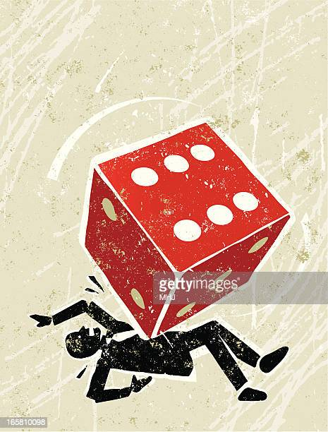 unlucky man crushed by dice - gambling addiction stock illustrations