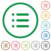 Unordered list flat icons with outlines