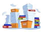 Unorganized paperwork. Paper documents stack, office work documentation disarray cartoon illustration