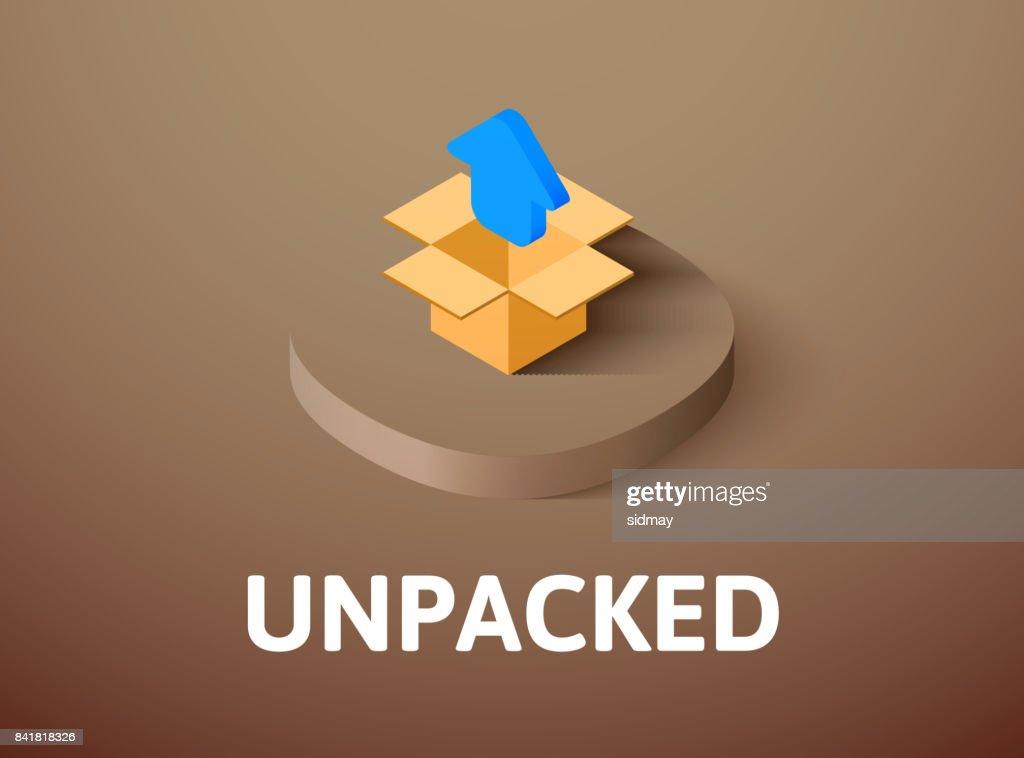 Unpacked isometric icon, isolated on color background