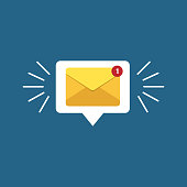 Unread email notification. New message vector illustration. Yellow email alert. Isolated on colorful background.