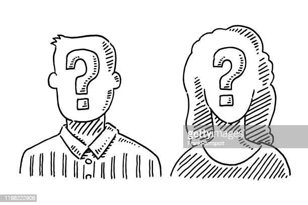 ilustrações de stock, clip art, desenhos animados e ícones de unrecognizable people question mark symbol drawing - pessoa irreconhecível
