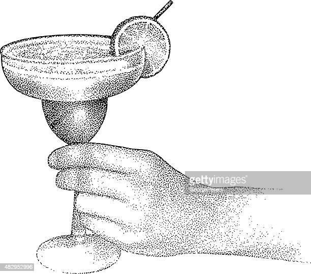 ilustrações, clipart, desenhos animados e ícones de pessoa irreconhecível saboreia uma margarita gelada - tequila drink