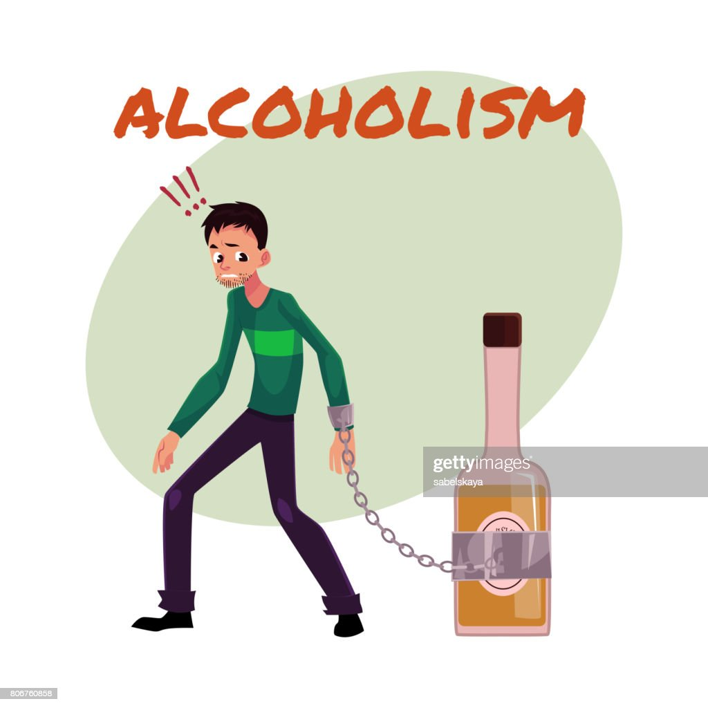 Unshaven man with hand chained to liquor bottle. alcohol dependence