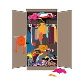 Untidy open woman wardrobe. Closet with messy clothes. Home mess interior. Flat design vector illustration.