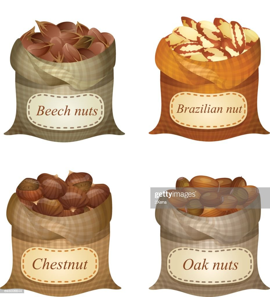 Untied sacks with batch of nuts and text labels on them