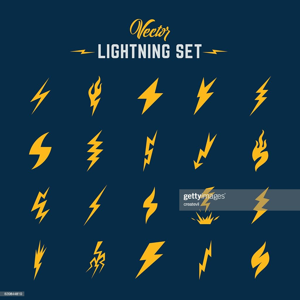 Unusual Abstract Vector Lightning or Blizzard Flat Style Icon Set