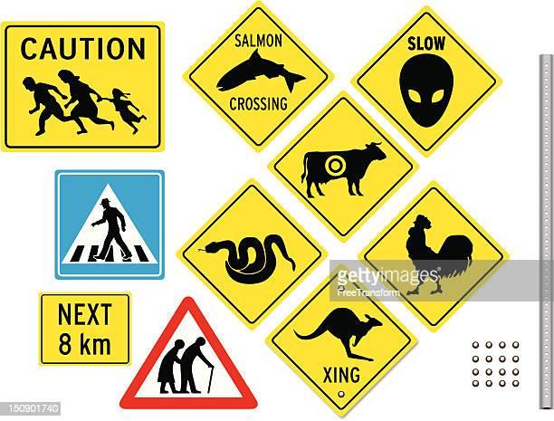 unusual crossing signs - crossing sign stock illustrations, clip art, cartoons, & icons
