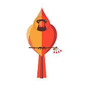 Unusual red cardinal bird