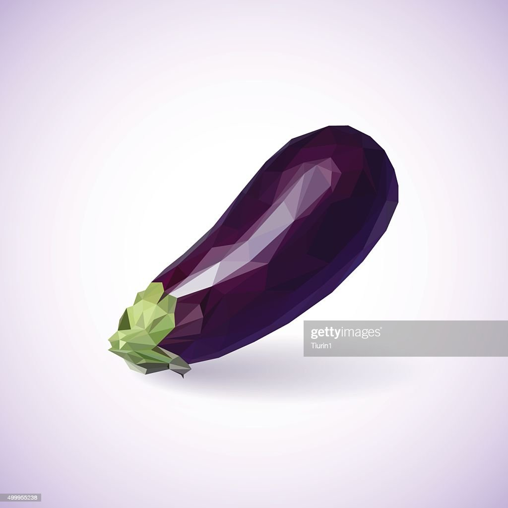 Unusual trendy poly style eggplant isolated on background. Vecto