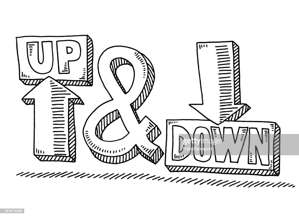 Up And Down Arrow Text Symbol Drawing Vector Art Getty Images