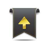 Up  Arrow golden Vector Icon Design