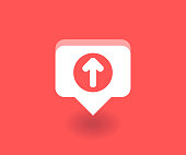 Up arrow icon, vector symbol in flat style isolated on red background. Social media illustration.
