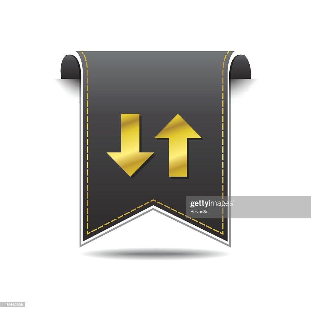 Up Down Arrow Golden Vector Icon Design