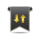 Up Down Arrow Golden Vector Icon Design