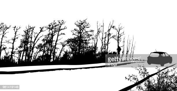 up in the boonies side roads - country road stock illustrations