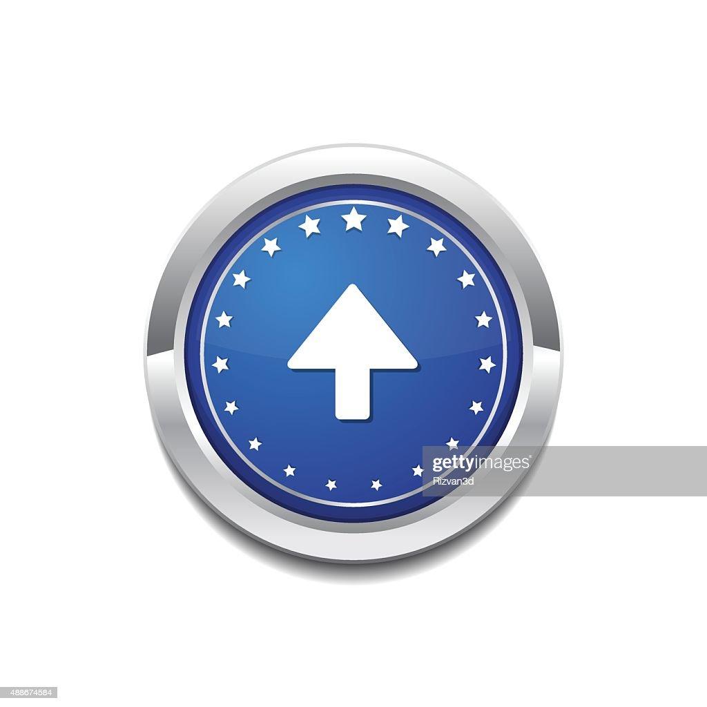 Up Key Circular Vector Blue Web Icon Button