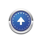 Up Key Circular Vector Blue Web Icon Button