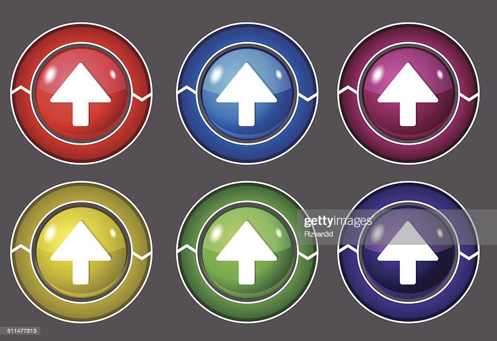 Up Key Circular Vector Colorful Web Icon Set Button