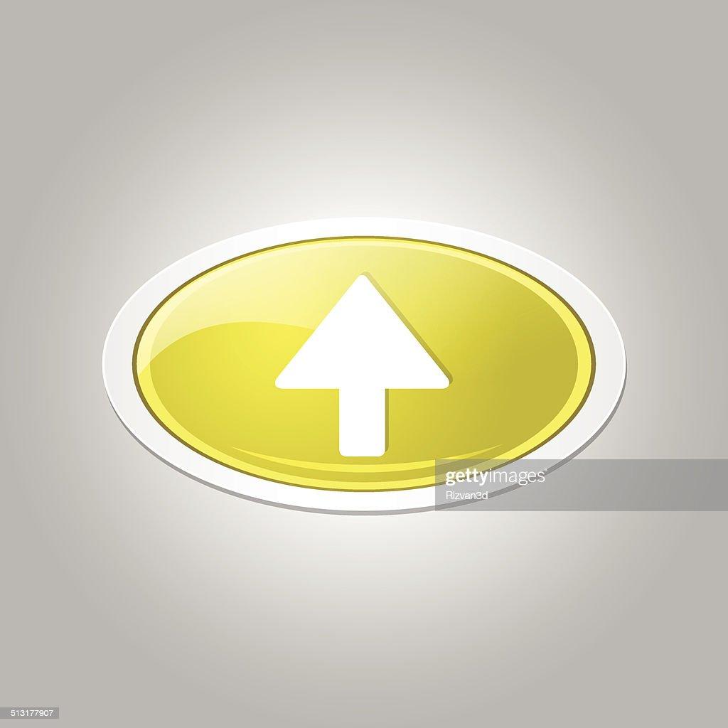 Up Key Circular Vector Yellow Web Icon Button