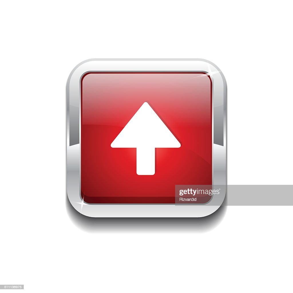 Up Key Rounded Rectangular Vector Red Web Icon Button