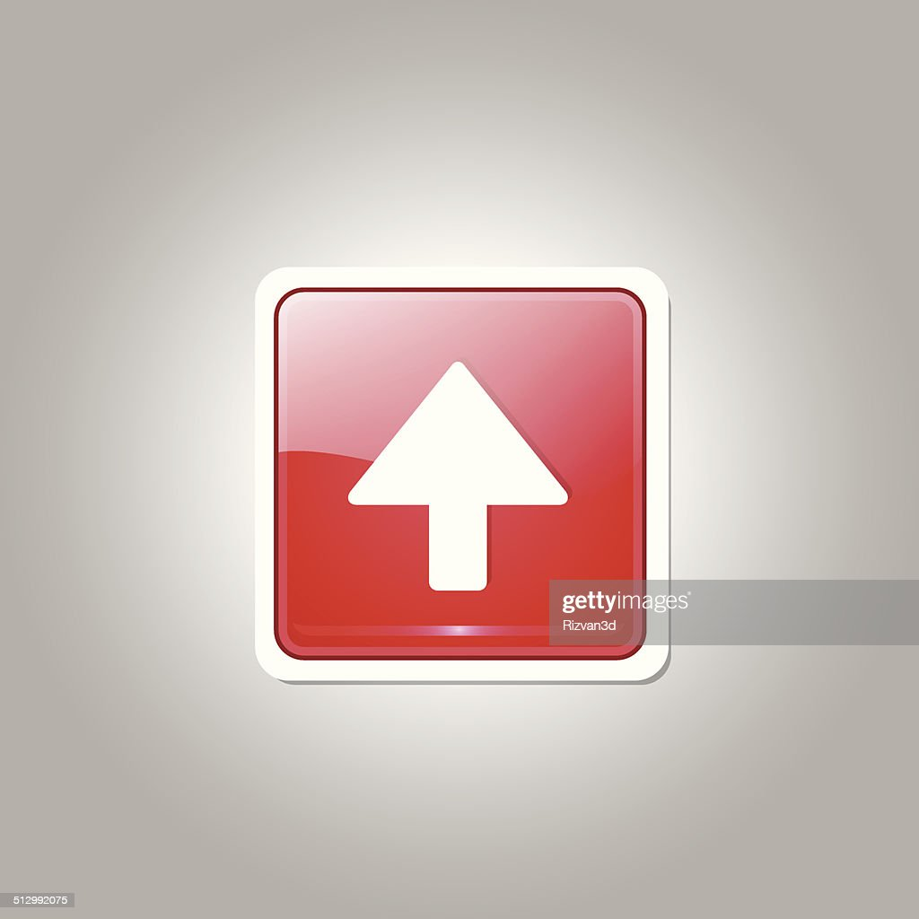 Up Key Square Vector Red Web Icon Button