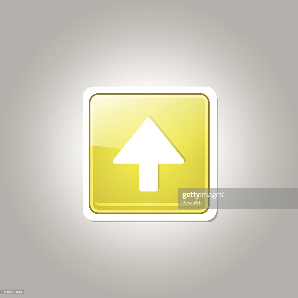 Up Key Square Vector  Yellow Web Icon Button