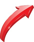 Up rising red arrow