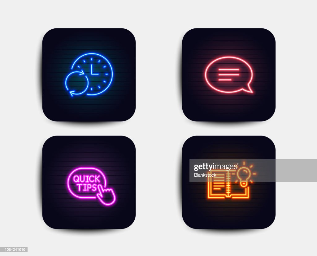 Update time, Chat and Quick tips icons. Product knowledge sign. Refresh clock, Speech bubble, Helpful tricks. Vector