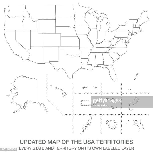 updated map of the usa territories - werkzeug stock illustrations