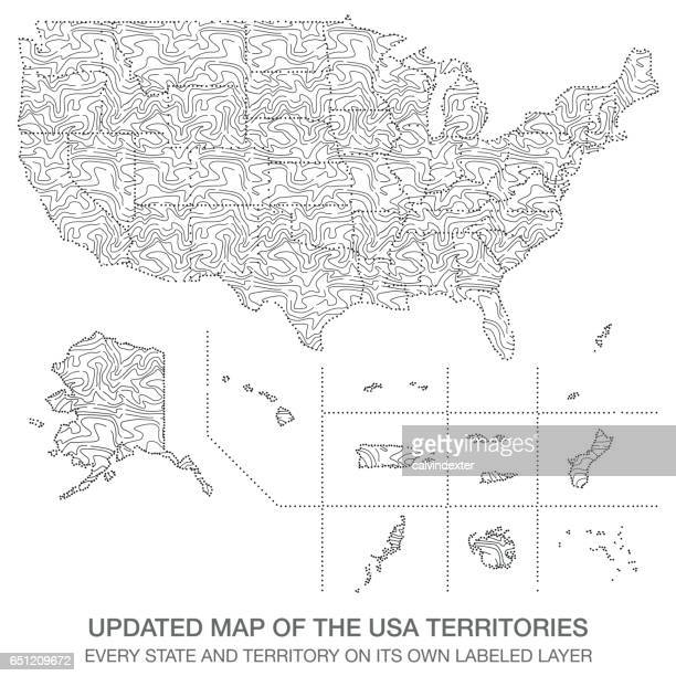 updated map of the usa territories - marshall islands stock illustrations, clip art, cartoons, & icons