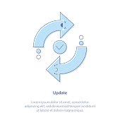 Updates, Check, Reboot, Refresh or Upgrade - Vector illustration