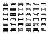 Upholstered Benches & Couches. Vector icon collection