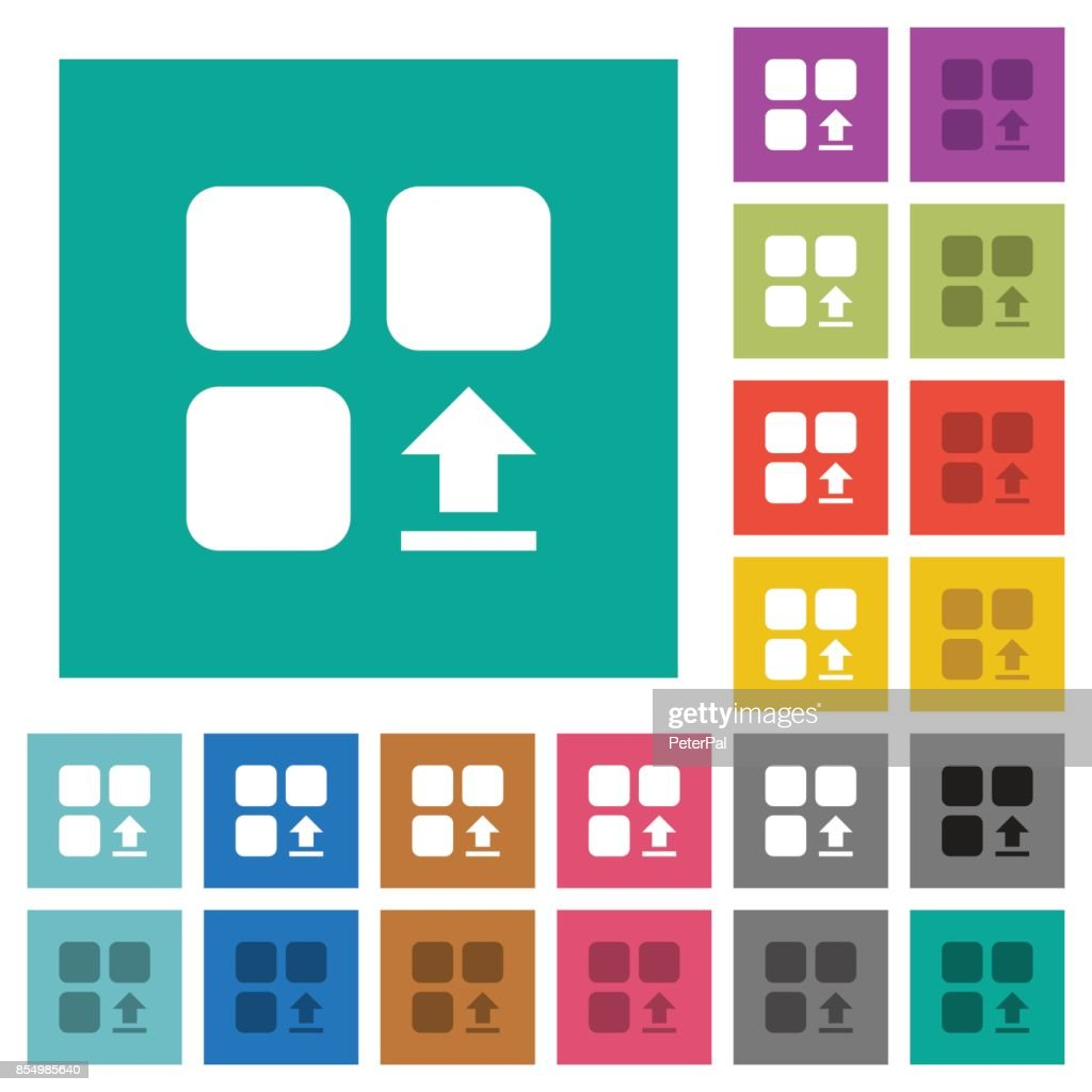 Upload component square flat multi colored icons