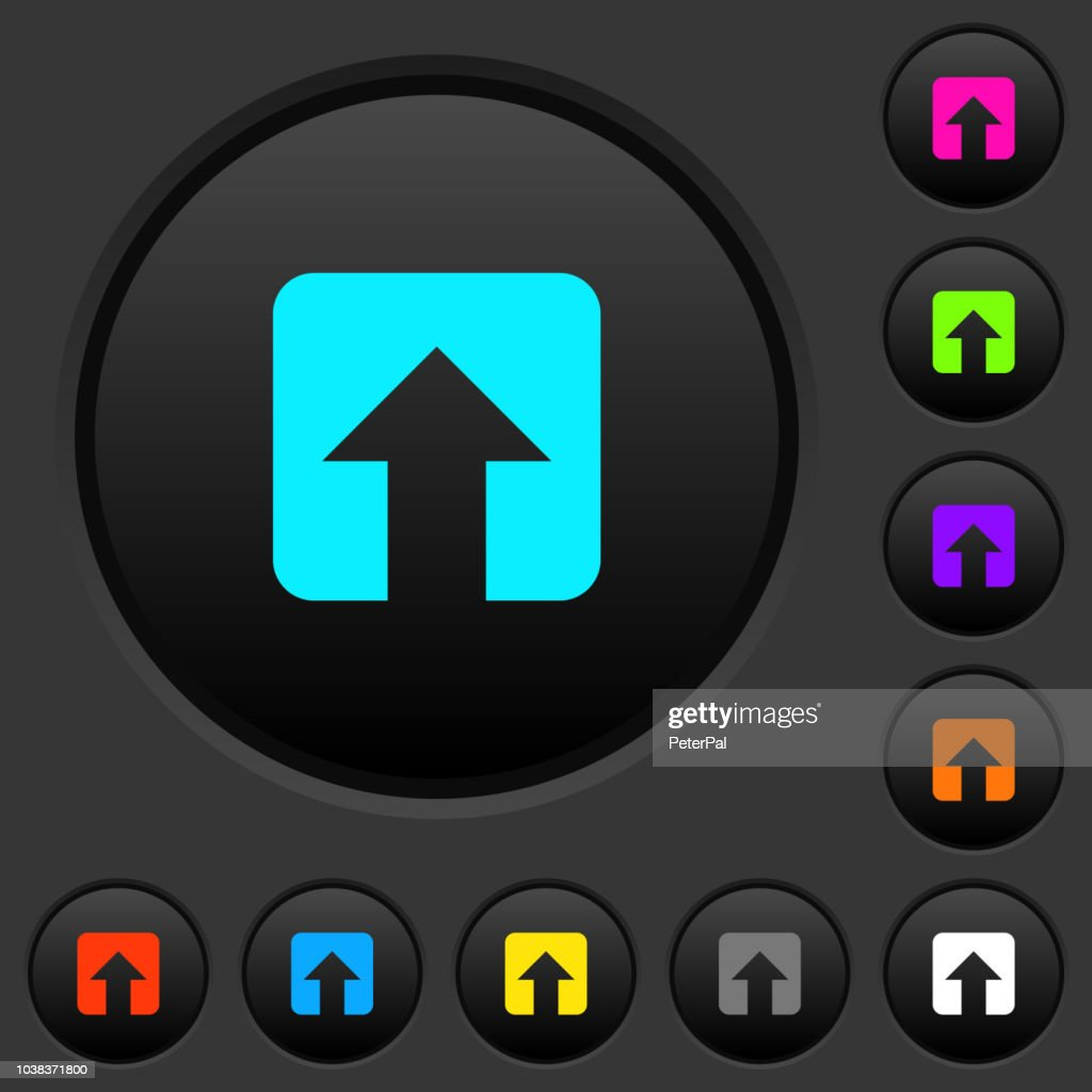 Upload dark push buttons with color icons