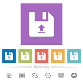 Upload file flat white icons in square backgrounds