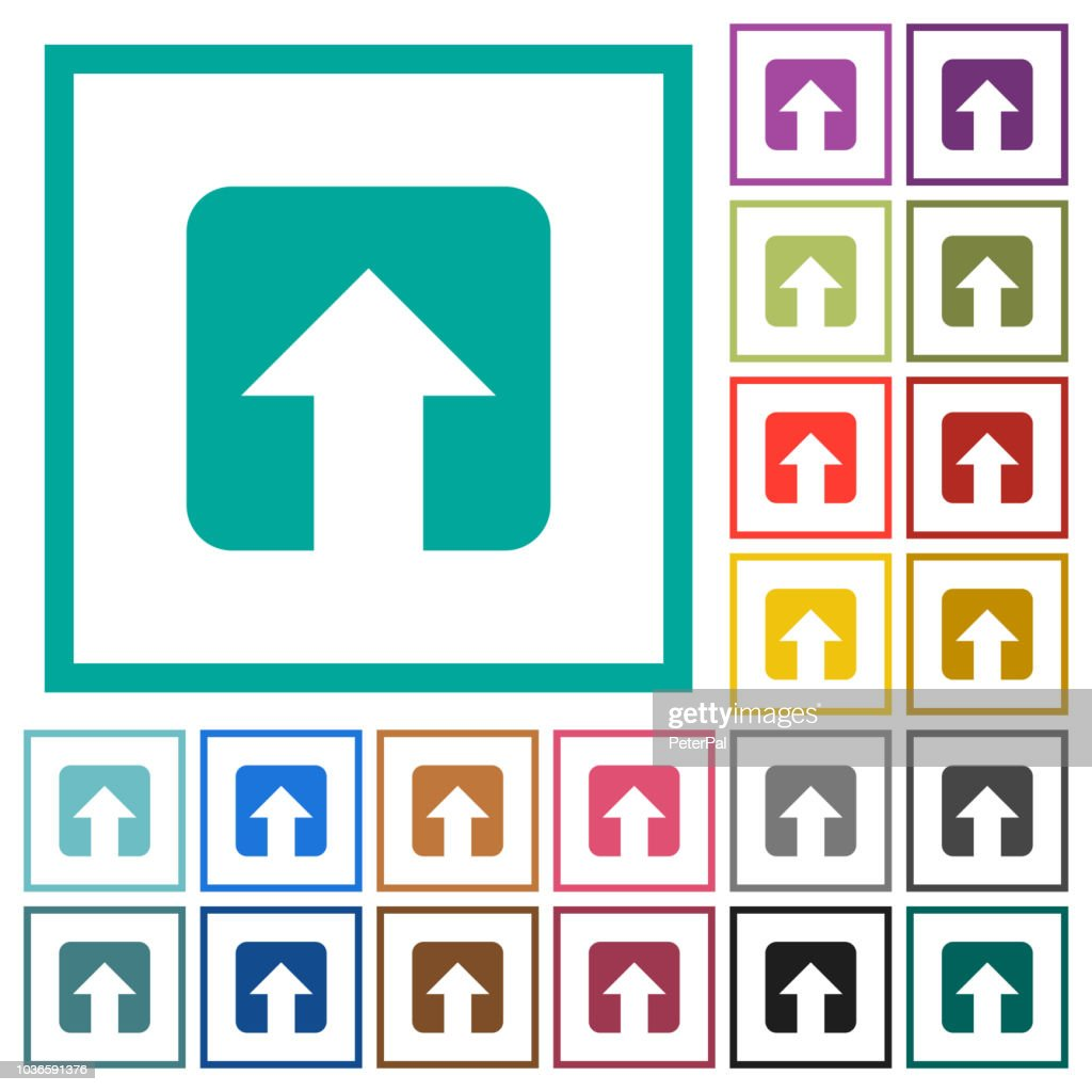 Upload flat color icons with quadrant frames
