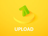 Upload isometric icon, isolated on color background