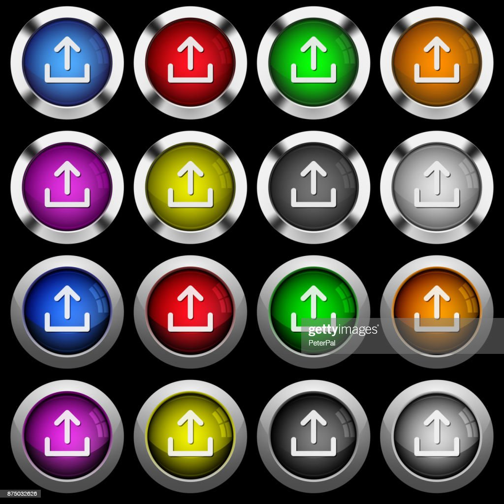 Upload symbol white icons in round glossy buttons on black background