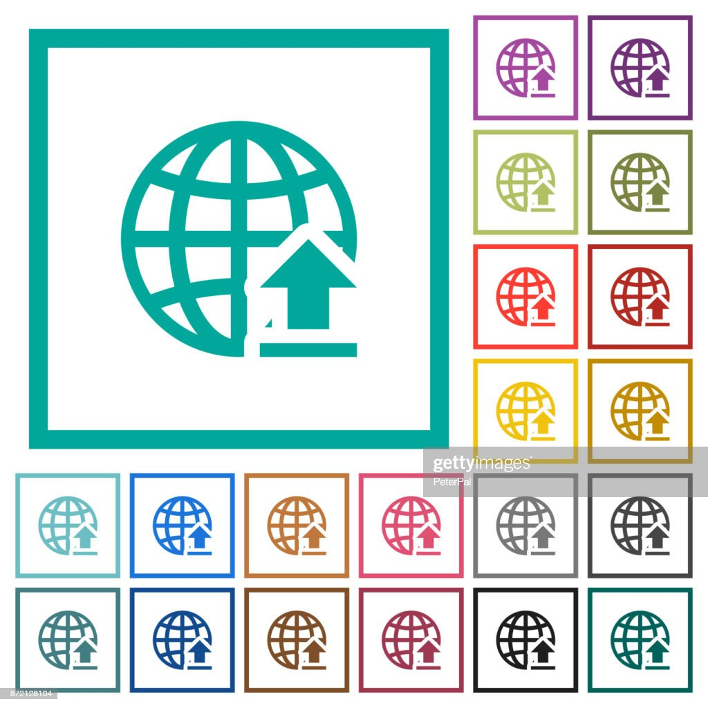 Upload To Internet Flat Color Icons With Quadrant Frames Vector Art ...