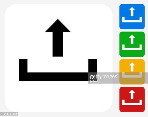 矢印アイコン付きのトレイをアップロード - 発送書類入れ点のイラスト素材/クリップアート素材/マンガ素材/アイコン素材