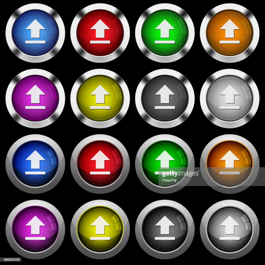 Upload white icons in round glossy buttons on black background