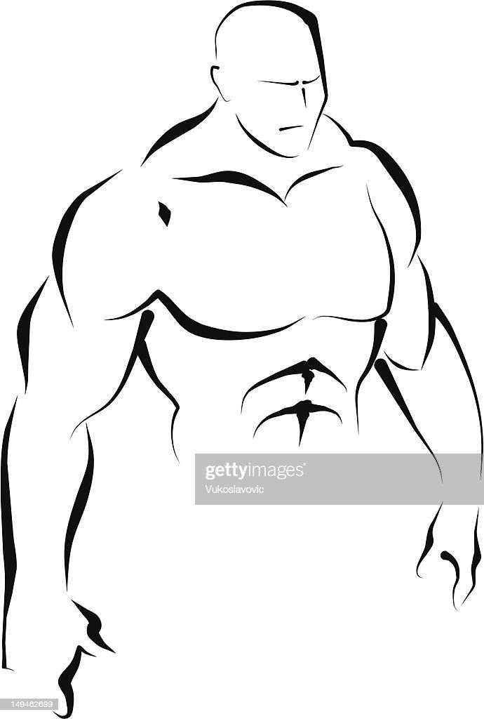Upper body. Line art. : stock illustration