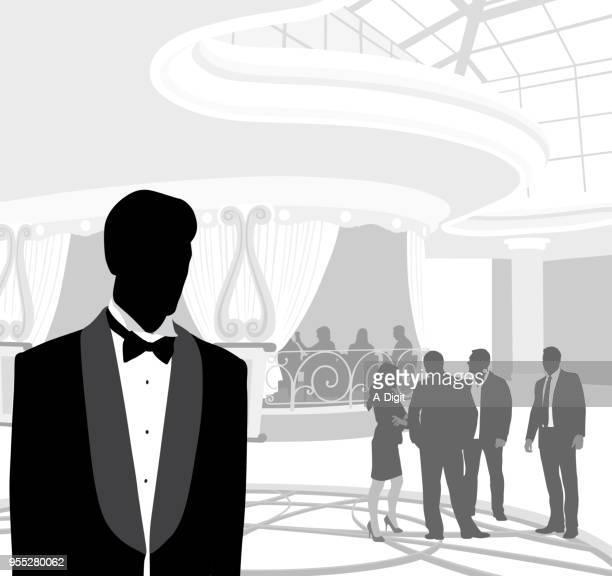 upper class dining hall - gala stock illustrations