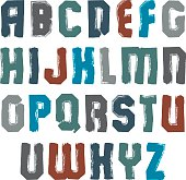 Uppercase colorful calligraphic brush letters, hand-painted brig