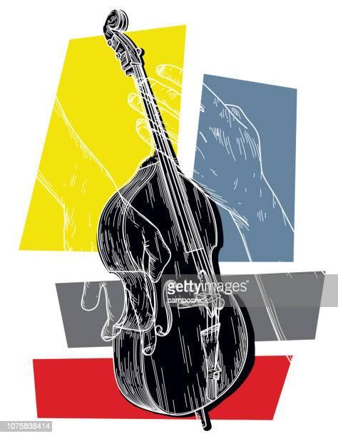 upright bass - bass instrument stock illustrations, clip art, cartoons, & icons