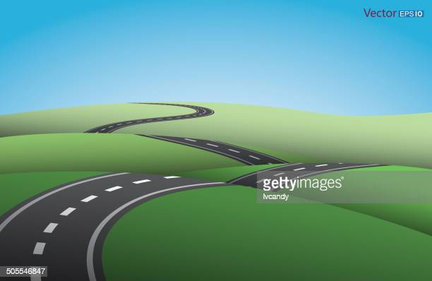ups and downs road - country road stock illustrations