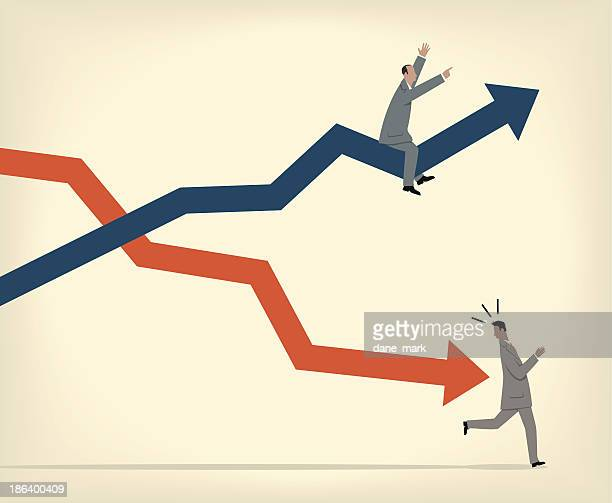 ups and downs - stock certificate stock illustrations